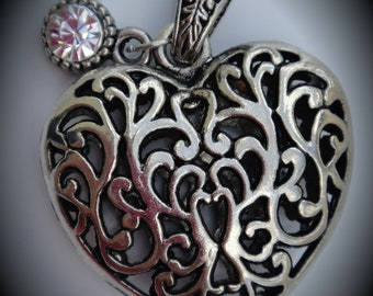 Silver Clear Crystal Puffy Heart Pendant