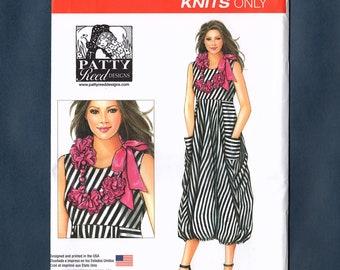 Simplicity 8046 Misses' Boho Knit Dress Boho Flower Necklace Sewing Pattern, Sizes XS (6-8) - S (10-12) - M (14-16) - L (18-20) - XL (22-24)