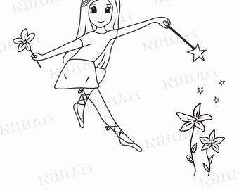 Digital Stamp, Digi Stamp, Flower stamp, Coloring Page, Girl, Fantasy, Adult Coloring Page  NilitArt IMG 003