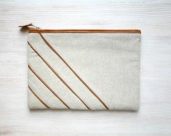 Unique design Linen and leather clutch purse Cosmetic bag Gadget case Stripe