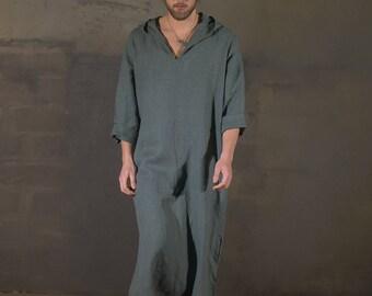 Men's olive hooded linen caftan, Linen tunic, Linen hooded caftan, Linen robe, Linen homewear, mens tunic, Linen Beach wear