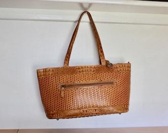 VTG Brahmin Satchel Bag Purse Pocomo Collection Toasted Almond