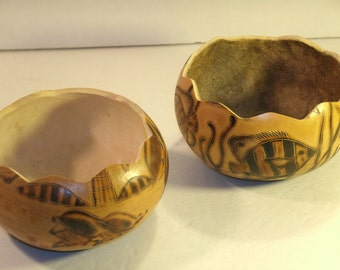 Pair Gourd Bowls Handmade Dolphin Fish Marine Water Art Scenes Scalloped Rims Round Carved Etched Incised Native Primitive Dried Gourds