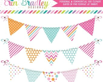 80% OFF SALE Pink Blue Orange Bunting Banner Flag Clipart Graphics Polka Dots Stripes Chevron Pennant Banner Clip Art Instant Download