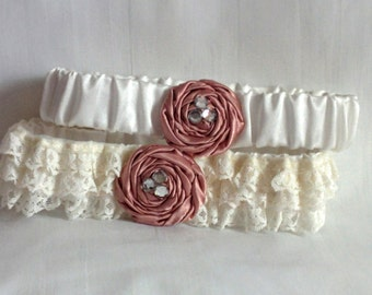Rose & Ivory Lace Wedding Garter Set, Blush Pink satin rose with crystals, includes keepsake and toss garters