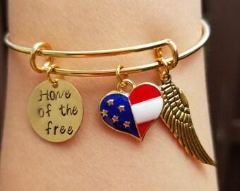 Customized Gold Plated Patriotic Bracelet, July 4th Bracelet, Personalized USA Bangle, Customized US Flag Heart Charm Bracelet