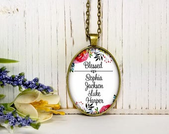 Custom Names-Blessed On Floral Background-Large Oval- Glass Bubble Pendant Necklace