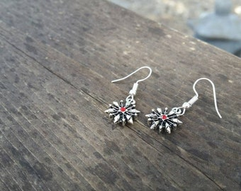 Red Snowflake Earrings with red rhinestone bead Winter Christmas Holiday Jewelry - Womens Earrings - Charms - double sided charms