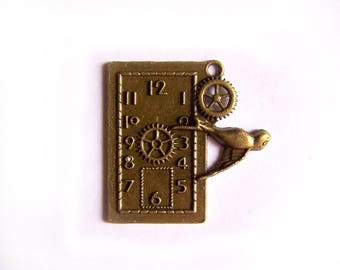 "Bronze large rectangle ""Clock bird"" metal charms for jewelry making"