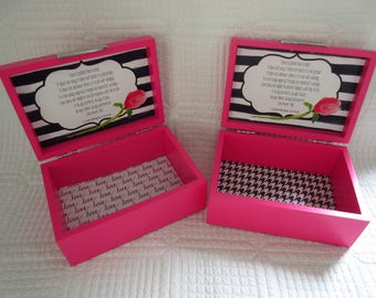 Blessings Box Jewelry Box Love is Patient, Love is Kind 1 Corinthians 13 Pink White Black Roses
