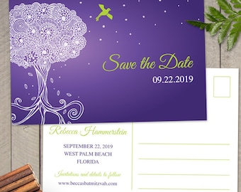 Ornate Tree of Life Bat Mitzvah Save the Date Postcard; Printable, Evite or Printed (US Only) Postcards; 4 Color Choices