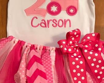 Pink Tractor Birthday Tutu Outfit