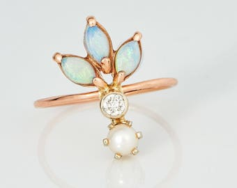 The 14k Gold, Diamond, Pearl, and Opal Plume Ring