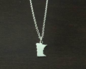 Minnesota Necklace, Minnesota, silver Minnesota necklace, Minnesota jewelry, state necklace, state jewelry, state, necklace, silver necklace