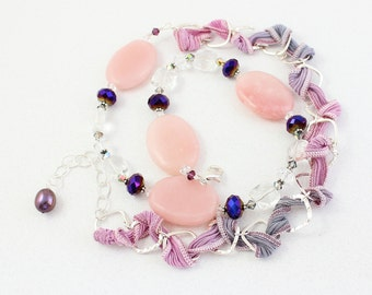 Long Asymmetrical Statement Necklace, Pink, Purple, Statement Necklace, Large Pink Argonite Gemstone, Sterling Silver