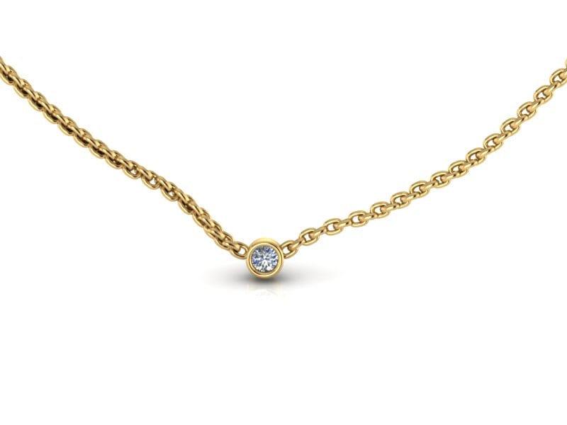 Tiny 14k yellow gold small diamond solitaire necklace diamond zoom aloadofball Images