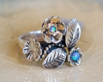 Engagement Ring, Sterling silver and gold ring, floral ring, botanical ring, woodland ring, Opal ring, two-tone ring - Just flowers R1696-1A