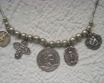 Sterling Silver Religious Charm Necklace with Sterling Beads and 5 Antique Sterling Charms