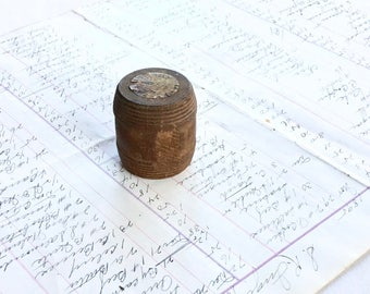 Antique Wood Treen Barrel Box Vintage Container