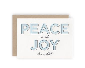 Peace + Joy To All - Letterpress Holiday Greeting Card