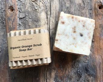 Organic Soap - Scrub Bar - Orange - Vegan - All Natural