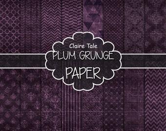 "Plum digital paper: ""PLUM GRUNGE PAPER"" with chevrons, crosshatch, stripes, damask, polka dots / plum vintage paper / plum shabby chic"