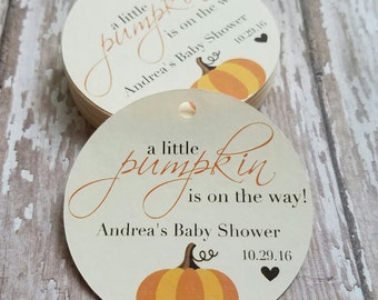 A little pumpkin is on the way baby shower tag, Fall Baby Shower, Pumpkin, Pregnancy Announcement Tag, Halloween Baby (079)