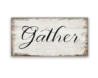 "Small Gather wooden box sign 10""x5""x2"" Gather art Gather sign Thanksgiving sign Fall signs Fall decor Autumn sign Gather wooden sign"