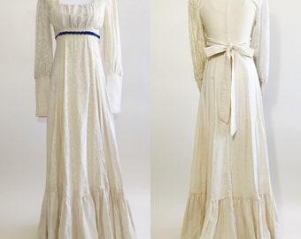Vintage 1970s Gunne Sax Ivory Lace Prairie Maxi Dress