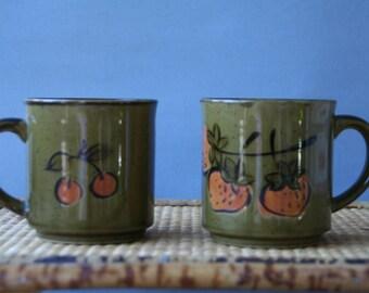 Set of Two VTG Stoneware Mugs 1970s Hand Glazed  Ceramic Coffee Mugs Green and Red Strawberry& Cherry
