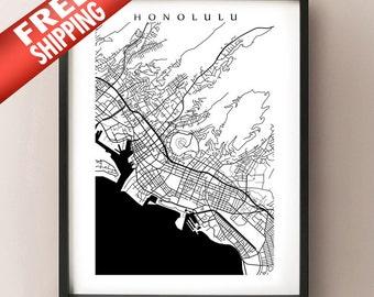 Honolulu Map Print - Hawaii poster - Oahu - Choose your size