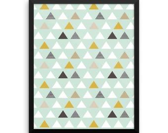Pellerina Poster mod mint triangles framed art nursery print wall art