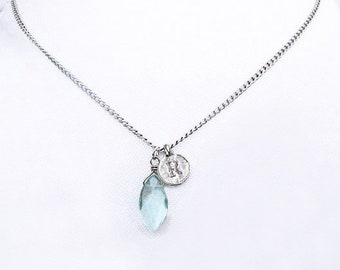 Personalized initial R coin necklace with clear blue stone, sterling silver R personalized jewelry gift, silver R necklaces, bridesmaid gift