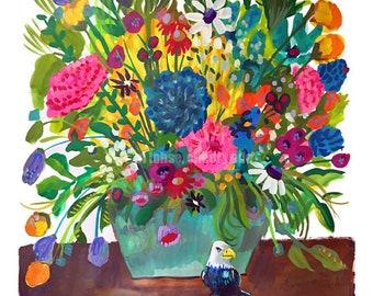 Fly Little Eagle Fly • still life • art print • giclee • floral • flowers • whimsical • flower vase series • bird • gouache • colorful •gift