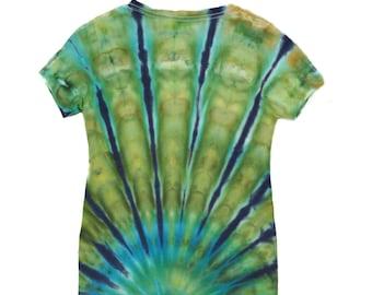 Ladies medium v-neck shirt, beautiful ice dye, ocean colors, arc, psychedelic, festival clothing, tie dye