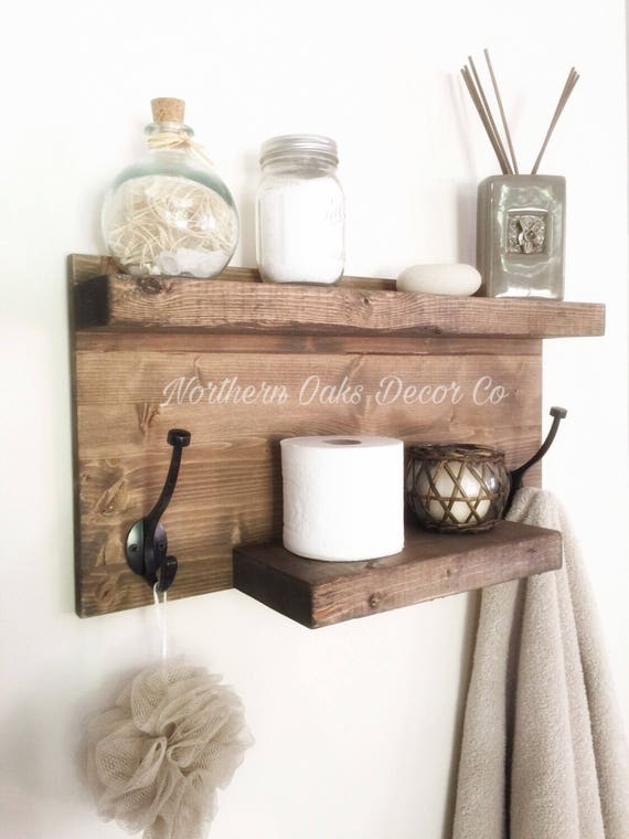 Rustic bathroom shelf rustic wood shelf towel rack entryway