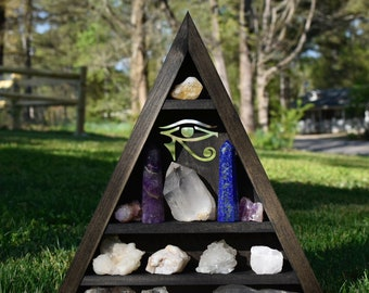 Large Eye of Horus Triangle Crystal Display Shelf