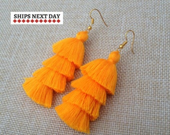 Mango Orange Tassel Earrings, Orange Drop Earrings, Bohemian Colorful Earrings, Boho Chic Jewelry, Holiday Earrings, Spring Summer Beach