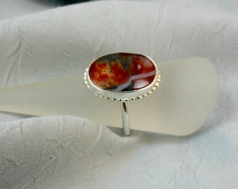 Sterling Silver Ring With Moss Agate Cabochon