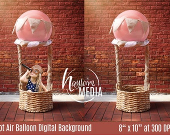 Baby, Toddler, Child, Hot Air Balloon Basket Photography Digital Backdrop Background Prop for Photographers - PNG Coverup Layer - Photo Prop