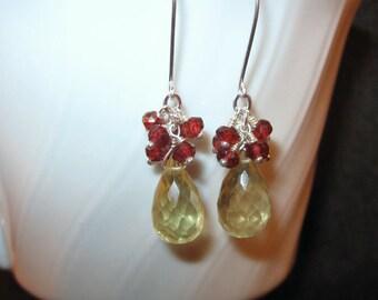 Garnet Cluster Earrings with Lemon Quartz in Silver