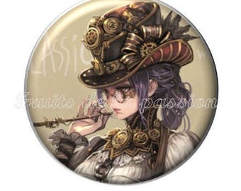1 cabochon 25mm, vintage, woman, steampunk, round glass