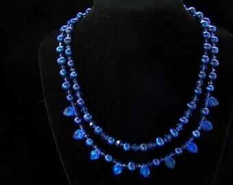 Cobalt beauty 2 strand necklace w earrings