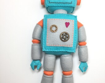 Cute Blue and Grey Standing Plush Felt Robot