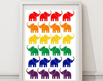 Limited time only -Nursery art  Colorful elephants- Digital Files with Instant Download-Home Decor-8x10 4 Files SALE!!!