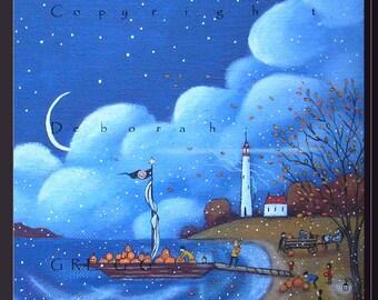 Pumpkins For Gull Island a small Autumn, lighthouse Print by Deborah Gregg