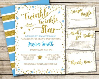 Twinkle Little Star Baby Shower Invitation Set, Glitter and Blue star baby shower invite, Baby Shower Invitation Set, Baby Boy Theme,Digital