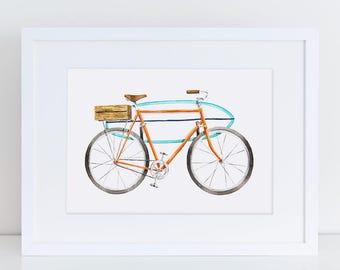 Vintage Inspired Orange Surf Board Bicycle Fine Art Watercolor Print