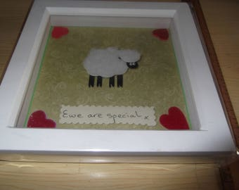 Sheep shadow box frame - Ewe are special