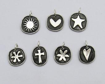 Handmade Silver Charms, Silver Sun Charm, Silver Heart Charm, Silver Starfish Charm, Silver Asterisk Charm, Silver Cross Charm, Flower Charm